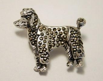 Vintage poodle brooch. Marcasite dog brooch