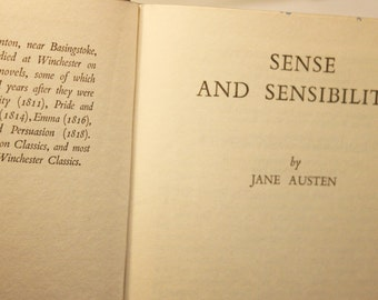 Vintage Jane Austen book. Sense and Sensibility. Vintage English literature