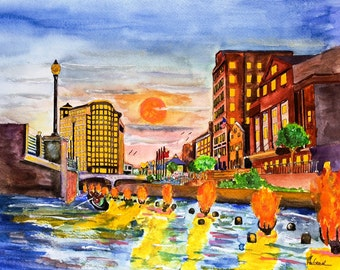 Saturday Night at WaterFire Art Print ( One Hundred  Bonfires,  Silhouettes of Firetenders & Enchanting Music in Providence RI )