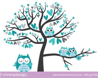 Owl Love Birds - in Turquoise and Grey - Digital Clip Art