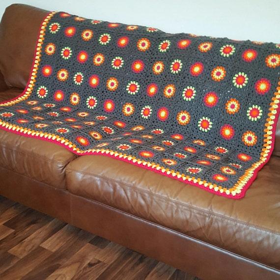Granny Squares Grey Neon Crochet BLANKET Retro Sunburst 54 x 60
