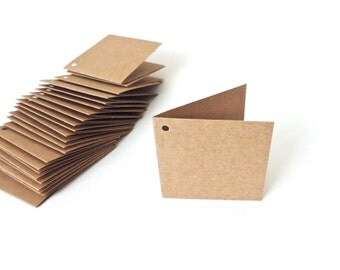 50 Folded Gift Tags Kraft Paper Mini Cards Blank
