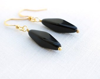Summer Party Simple Black Earrings Black Bead Earrings Modern Black Glass Earrings Minimalist Gold Earrings Black Drop Earrings