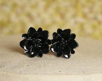 Handmade Black Earrings Black Flower Earrings Black Resin Flower Post Earrings Black Post Earrings Black Bridesmaids Jewelry Black Wedding