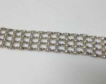 Woven Rhinestones Wide Beautiful  Bracelet
