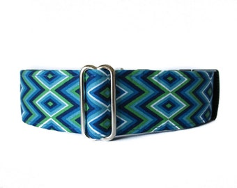 1.5 Inch Martingale Collar, Blue Martingale Collar, Greyhound Martingale Collar, Royal Blue, Damask, Sighthound Collar, Wide Dog Collar