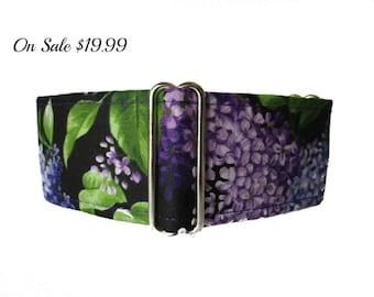 "Purple Martingale Dog Collar, 1.5"" Martingale Collars, Greyhound Martingale Collar, Lilacs, Floral, Greyhound Collar, Lilac Dog Collar"