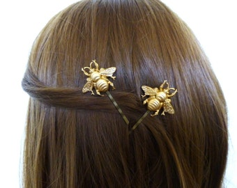 Gold Bee Bobby Pins Girls Hair Clips Insect Nature Inspired Garden Fairy Bride Bridal Rustic Wedding Accessories Womens Gift For Her Summer