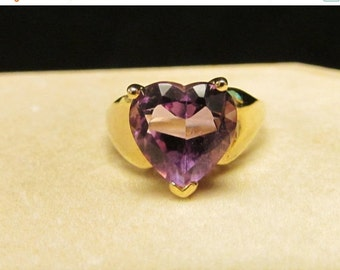 On Sale Vintage Estate 10K Heart Shaped Amethyst  Ring