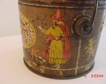 Vintage Ludwigs Foods Nursery Rhyme Tin Bucket  16 - 427