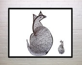 Catbird, Elsie and Child, abstract, folk art, black and white print, fantasy, cat, bird, dinosaur, mother and child, child's room decor
