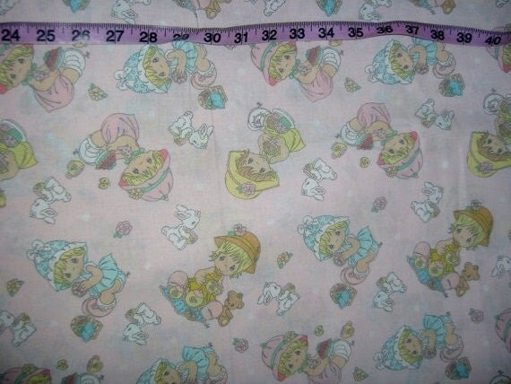 Precious Moments Fabric Girl Bunny Dot Pink Cotton Print Quilt