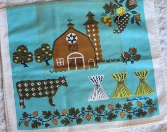 Vintage Kitchen Tea Towel-FARM-Mid Century-Eames-Whimsical-Unused-Signed