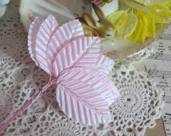 Millinery Leaves-Baby Pink-Satin