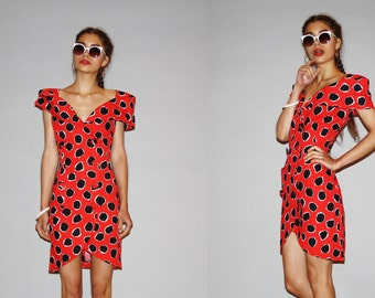 1980s  Graphic Red and Black Summer Cotton Party  Dress   - 80s Short Red Dress - WD0877