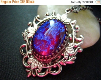 Nebula --- Rare Vintage West Germany x-large Dragon's Breath Opal glass jewel aged brass victorian necklace