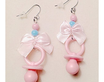 Kawaii Earrings/Pastel Jewelry/Pacifier/Bow/Pastel Earrings/Fairy Kei/Kawaii/Pastel Goth/Sweet Lolita/Baby Cosplay/Baby Doll/Pacifier