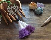 Beaded lotus and tassel necklace, bohemian beaded jewelry