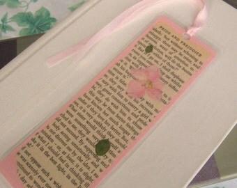 Light Pink Pressed Flower Jane Austen Book Page Laminated Bookmark