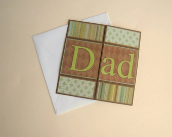 Father's Day Card Never Ending Card Green and Brown Handmade