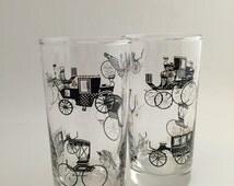 Vintage Libbey Glassware Antique Horseless Carriage - Curio -set of 2 barware
