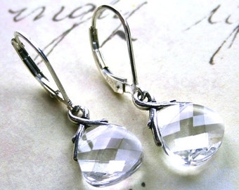 ON SALE Swarovski Crystal Briolette Earrings with Leverbacks In Crystal Clear - Handmade with Swarovski Crystal and Sterling Silver
