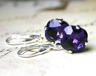Cushion Cut Drop Earrings In Purple Velvet - Violet Purple Earrings - Swarovski Crystal Square Stones With Sterling Silver Leverbacks
