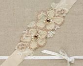 Rose Gold Bridal sash, Wedding belt, Bridal belt, Wedding sash, Wedding dress belt, Wedding dress belt sash, Champagne , Floral bridal belt