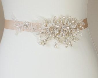 Bridal belt Pearl Bridal sash Pearl wedding belt Champagne bridal belt Pearl bridal belt Champagne Wedding sash Pearl Wedding belt sash