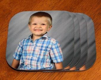 Set of 4 Custom Photo Hardboard Coasters