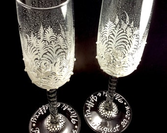Pearls & Lace Wedding Toasting Flutes, hand painted,engraved,personalized in calligraphy