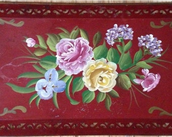 Vintage Floral Tole Tray Toleware Flowers ANTIQUE TOLETRAY Shabby Roses