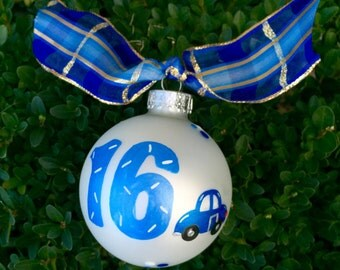 Sixteen Birthday Ornament - Hand Painted Christmas Ornament, 16th Birthday Gift, Blue Car for New Driver Teen Birthday, Personalized FREE