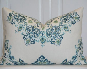 Kravet Decorative Pillow Cover - Fits 14 x 20 Insert - Accent Pillow - Teal - Aqua - Green - Suzani Floral - Toss Pillow