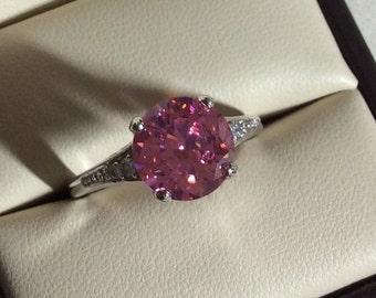 SALE Pink Topaz ring, size 7 and 8 set in solid Sterling silver