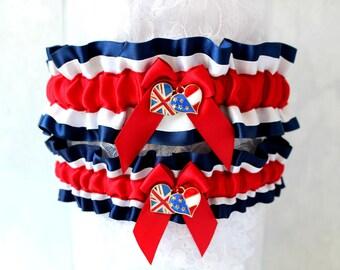 British-America Wedding Garter Set - Divided Family Wedding - Patriotic Wedding Garters - English-American Wedding Garter Set.