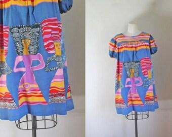 vintage 1960s novelty print dress - TRIBAL LADIES tunic dress / fits most