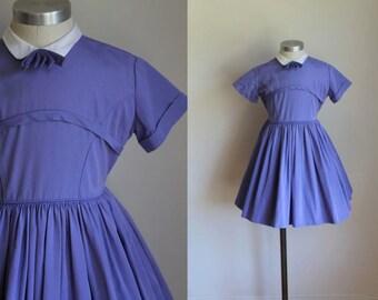 vintage 1950s girl's dress - VOILET purple cotton party dress / 7yr