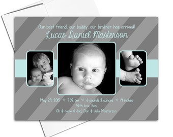 Custom baby birth announcements cards | siblings birth announcement printable | multiple photo announcement | brothers modern - WLP00110
