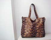 Snake Leather Tote Bag, Large Purse, Real Leather Shopper