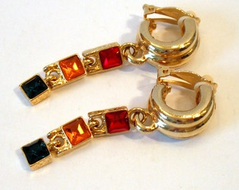 Vintage 1980 Goldtone Clip On With Red, Gold and Green Stones