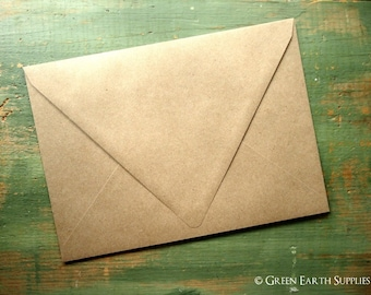 "100 A2 Euro Flap Kraft Envelopes: triangular triangle contour flap, rustic kraft brown note card envelopes 4 3/8"" x 5 3/4"" (111 x 146mm)"