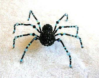 Beaded Spider Ornament in Black and Blue - Christmas Spider, Halloween Decor