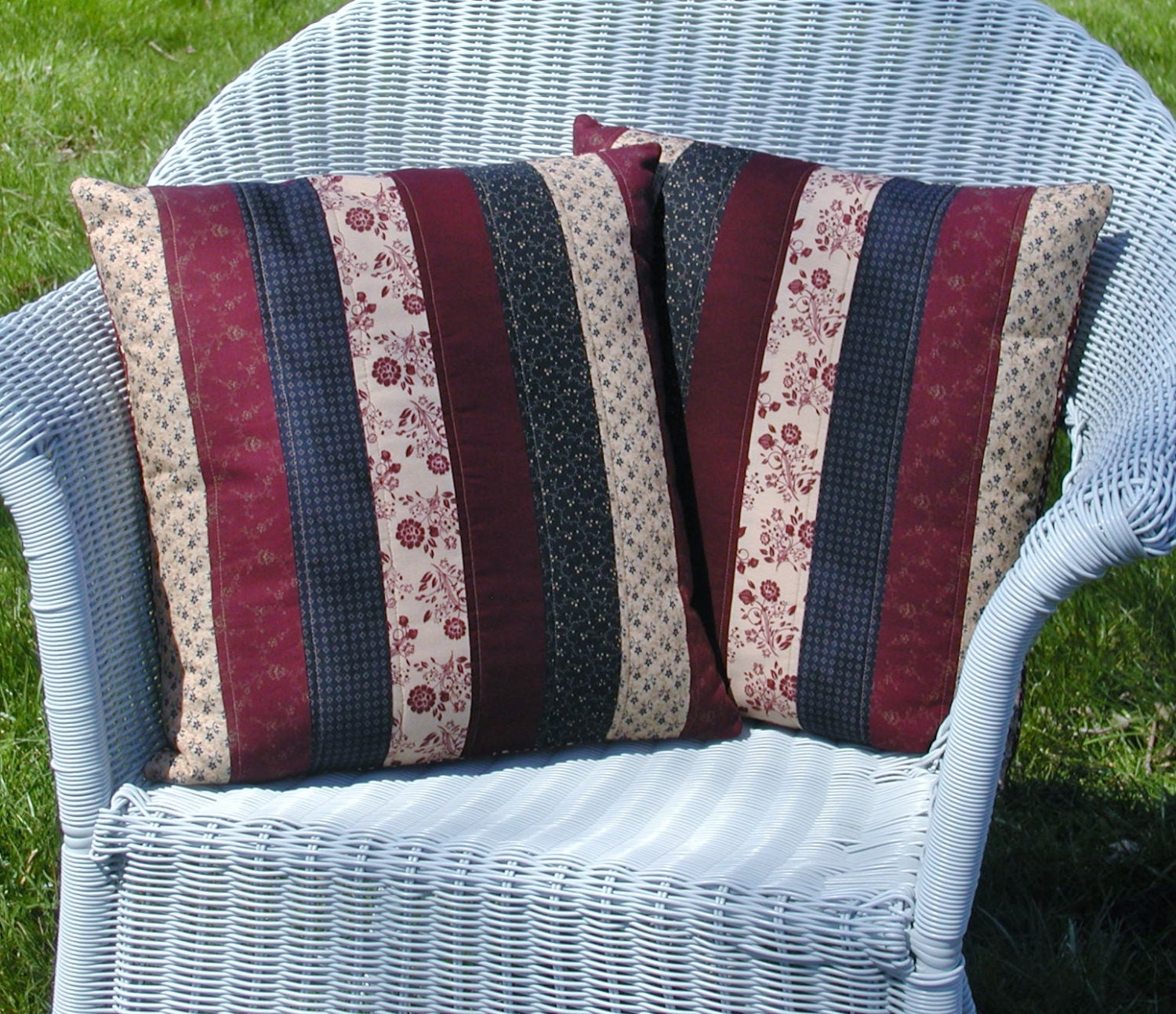 Decorative Quilted Pillow Covers : Americana Quilted Pillow Covers Set of 2 Decorative Pillow
