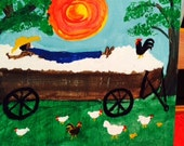 COTTON PICKER RESTING in cotton wagonl painting by nita Marked 1/2 off