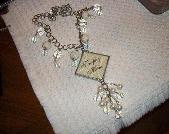 unique vintage trophy mom necklace