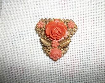 Vintage Brass Clip /Coral Design