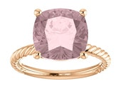 Peach Morganite Cushion Cut 3.60 Carat Rose Gold Engagement Certified Stone