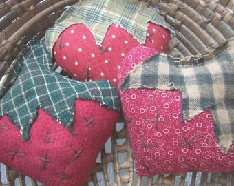 Primitive red raggedy strawberry bowl fillers