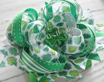St. Patrick's Day bow-stacked hair bow accessory-Green green Shamrock Clover-made by Maddie B's Boutique on Etsy